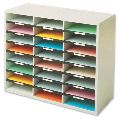 Fellowes Literature Sorter Melamine-laminated Shell 24 Compartments 737x302x594mm Code 25041