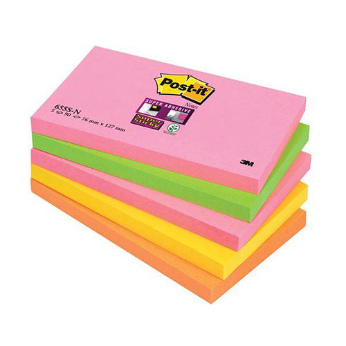 3M Post-it Super Sticky Notes 76x127mm Neon Rainbow Code 655-SN
