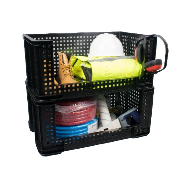 Really Useful Black Open Front Storage Crate 64 Litre