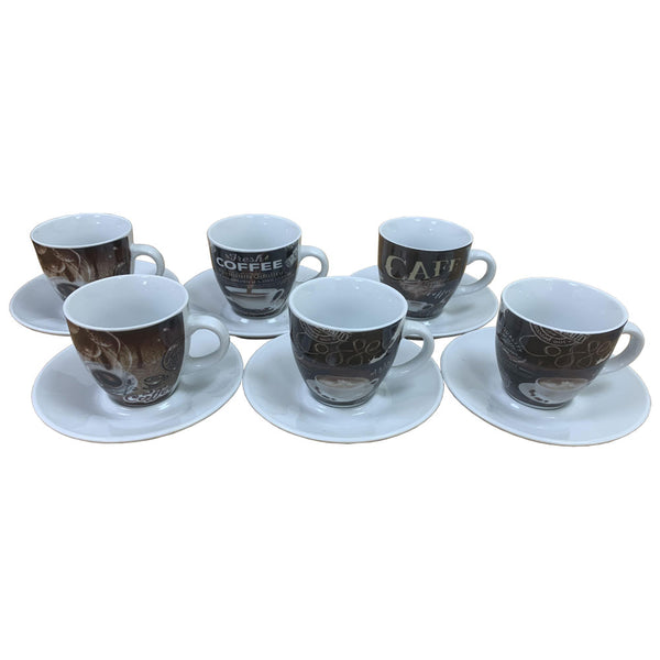 3oz Fixtures Coffee Printed Design Espresso Cup & Saucer Set {12 Piece Set}