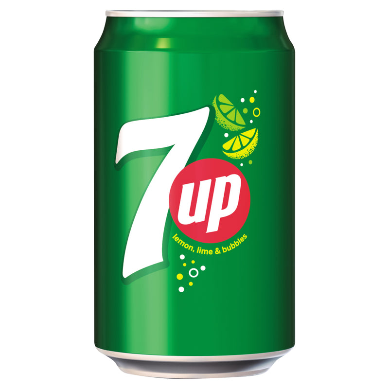 7-Up Lemon and Lime Carbonated Canned Soft Drink 330ml (Pack of 24)