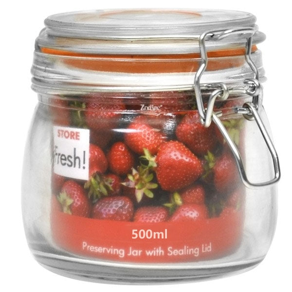 Store Fresh Cliptop Glass Preserving Jar 500ml