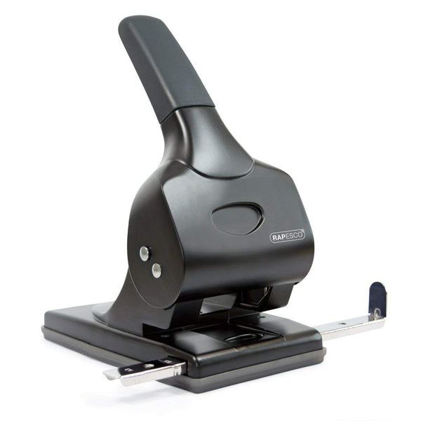 Rapesco 1015 Extra Heavy Duty 2-hole Punch 65-Sheet Capacity - Black/Grey