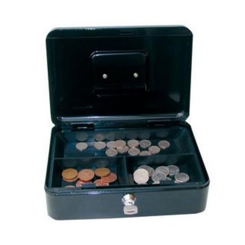 Belgravia 25cm (10 Inch) key lock Metal Cash Box Black