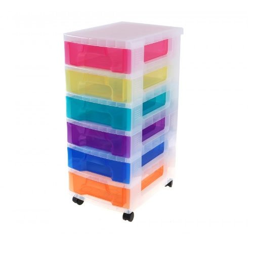 Really Useful Storage Boxes 6 x 7 Litre Clear Tower Rainbow Drawers