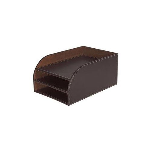 Osco Brown Faux Leather Triple Letter Tray