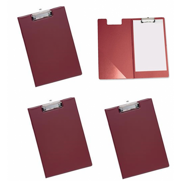 Belgravia Stationery PVC Fold Over (A4) Clipboard (Red)