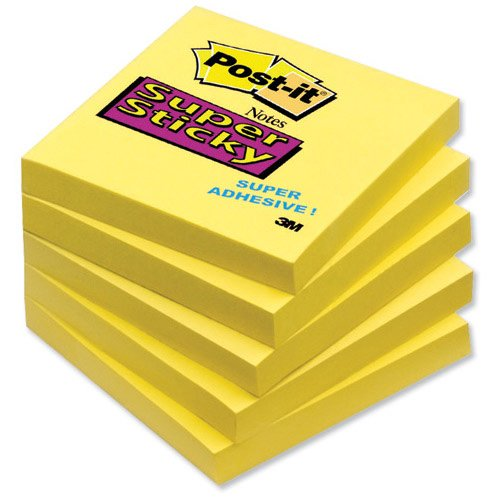 3M Post-it Super Sticky Notes Pad 76x76mm Yellow Pack 12 Code 654-S