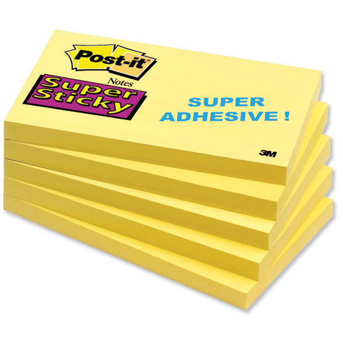 3M Post-it Super Sticky Notes Pad 76x127mm Yellow Pack 12 Code 655S