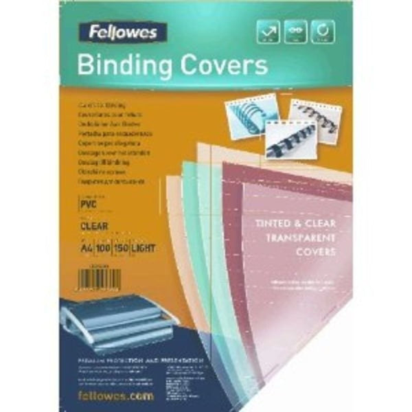 Fellowes A4 Clear 150 Micron Binding Covers Pack 100's