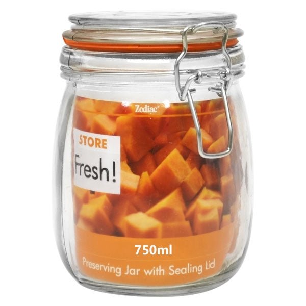 Store Fresh Cliptop Glass Preserving Jar 750ml