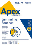 Fellowes Apex A4 Laminating Pouches 2x100 Micron Pack 100's