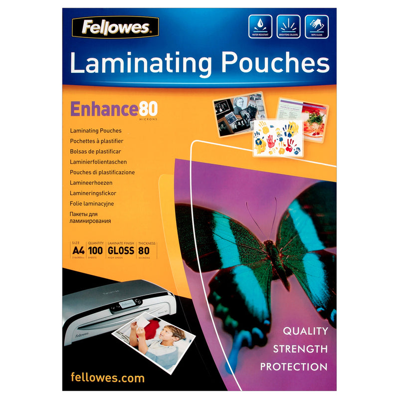 Fellowes A5 Laminating Pouches 2 x 80 Micron Pack 100's