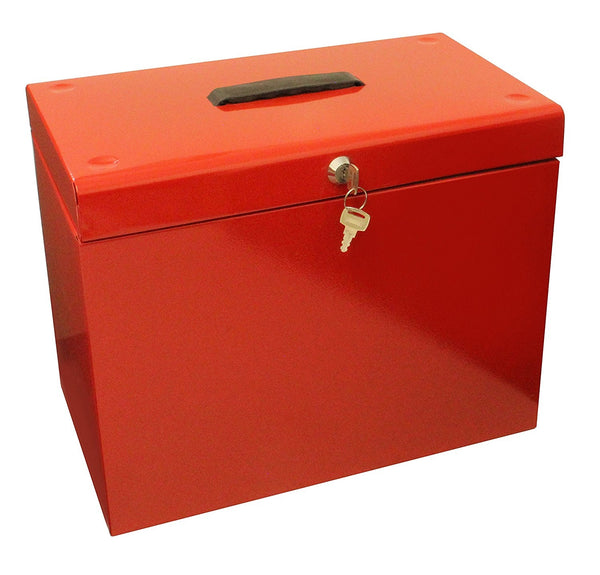 Cathedral Foolscap Red Metal File Box 14284CA