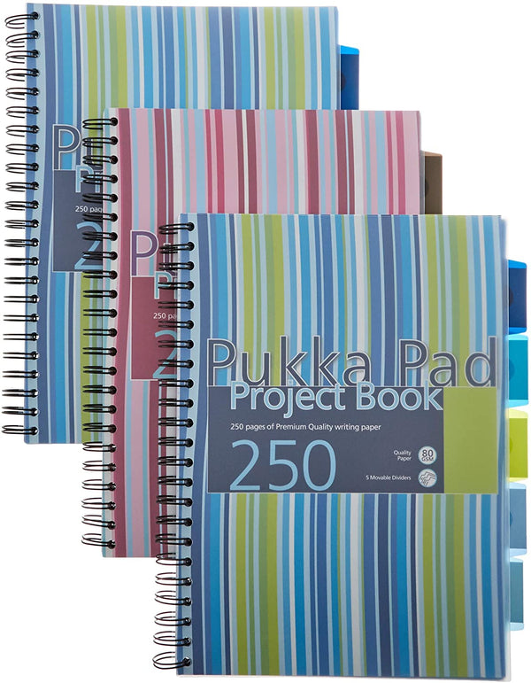 Pukka Pad Stripes Polypropylene Project Book 250 Pages A4 Blue/Pink (Pack of 3) PROBA4