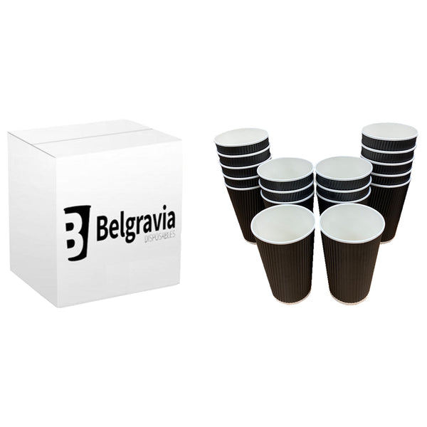Belgravia 12oz/35cl Triple Walled Black Ripple Paper Cups 500s