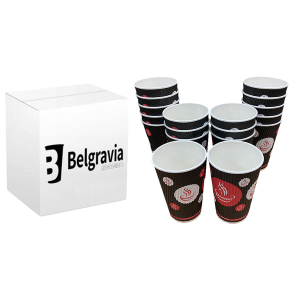 NEW Belgravia 12oz Triple Walled Red & Black Ripple Paper Cups 25s