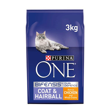Purina ONE Coat & Hairball Dry Cat Food Chicken 3kg