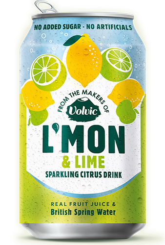 Volvic Sparkling L'mon Lemon & Lime Cans 12x330ml
