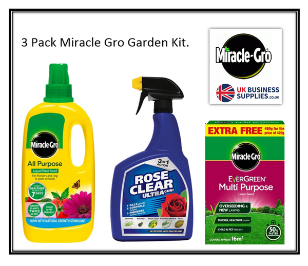 Miracle-Gro Garden Maintenance 3-Pack Offer, Lawn Seed,Plant Food & Bug Spray