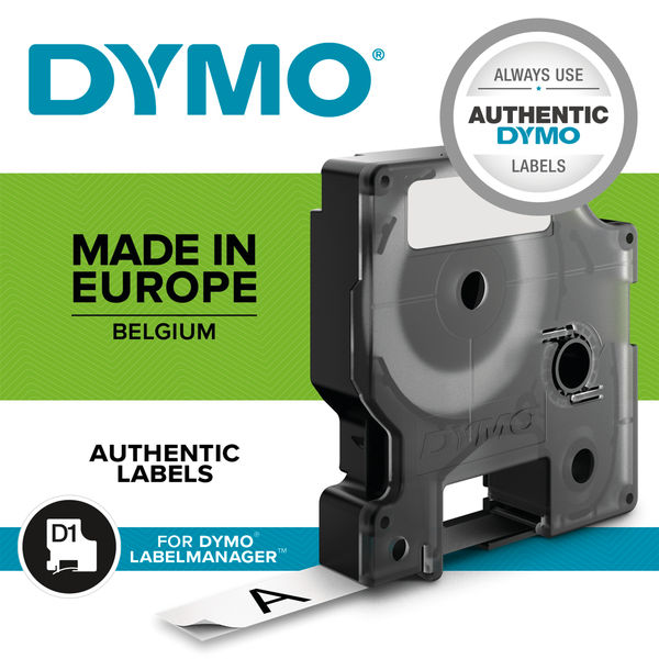 Dymo D1 Tape for Electronic Labelmakers 9mmx7m Black on White Code 40913