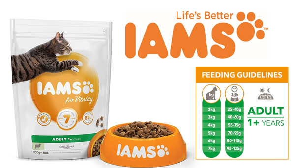 IAMS for Vitality Adult Cat Food Lamb 800g