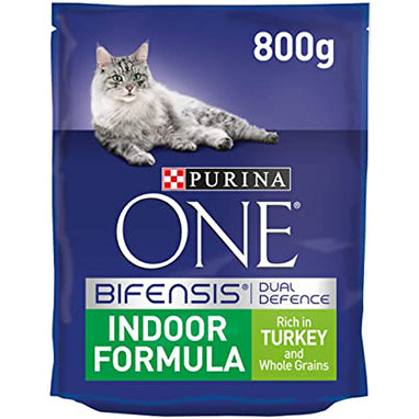 Purina ONE Indoor Dry Cat Food Turkey & Wholegrain 4 x 800g {Full Case}