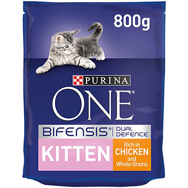 Purina ONE Kitten Dry Cat Food Chicken & Wholegrain 4 x 800g {Full Case}