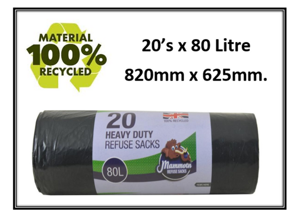 Mammoth Heavy Duty Refuse/Bin Sacks 100% Recycled 820mm x 625mm 20's
