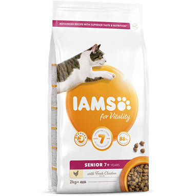 IAMS for Vitality Senior Dry Cat Food Fresh Chicken 2kg