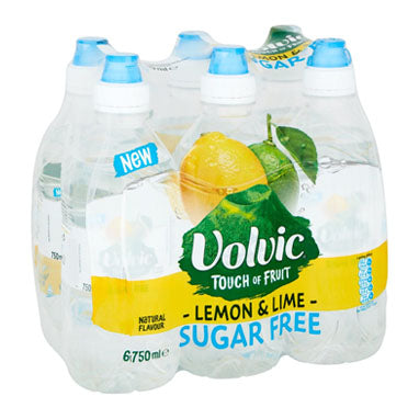 Volvic Sugar Free Touch of Fruit Lemon & Lime 6x750ml Sportscap