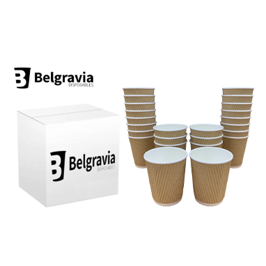 Belgravia 12oz Triple Walled Kraft Ripple Paper Cups 500s