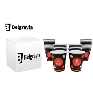 Belgravia 10oz Red & Black Single Walled Paper Cups 50s