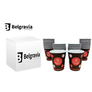 Belgravia 8oz Red & Black Single Walled Paper Cups 1000s