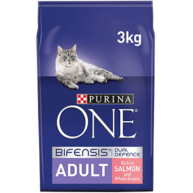 Purina ONE Adult Dry Cat Food Salmon & Wholegrain 3kg
