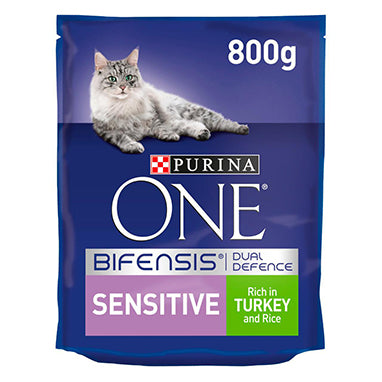 Purina ONE Sensitive Dry Cat Food Turkey & Rice 4 x 800g {Full Case}