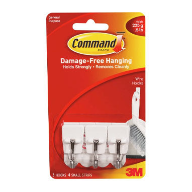 3M Command 17067CL Small Clear Wire Hooks 3 Pack