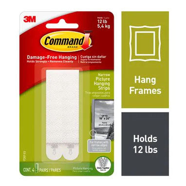 3M Command 17207 Narrow Picture Hanging Strips 4 Pack