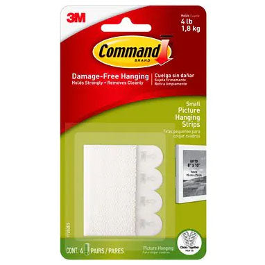 3M Command 17202 Small Picture Hanging Strips 4 Pack
