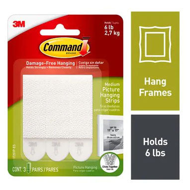3M Command 17201 Medium Picture Hanging Strips 3 Pack
