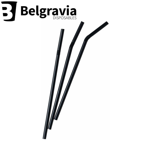 Belgravia Black Bio Plastic Bendy Straws Pack 250's