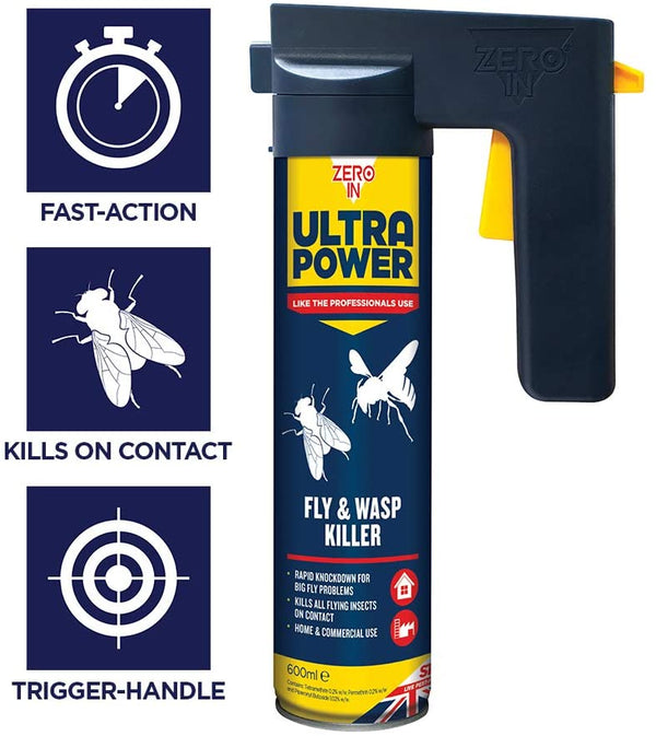 Zero-in Ultra Power Fly & Wasp Killer 600ml (ZER552)