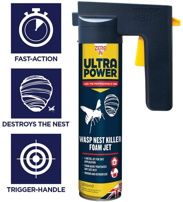 Zero-in Ultra Power Wasp Nest Killer Foam Jet 600ml (ZER556)