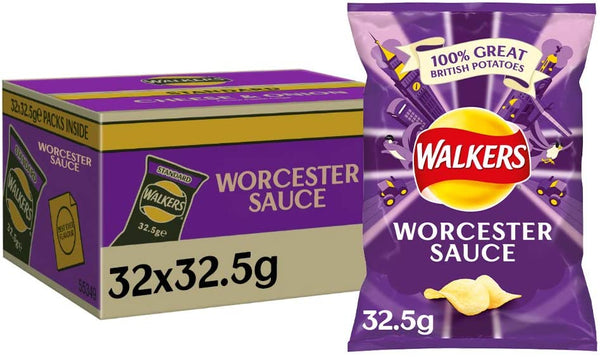 Walkers Worcester Sauce Crisps Pack 32's