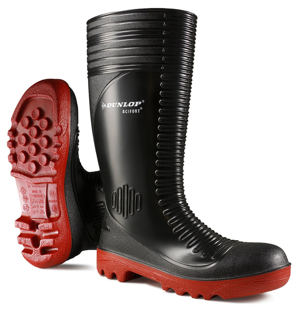 Dunlop Acifort Black & Red Ribbed Rubber Wellington Boots {All Sizes}