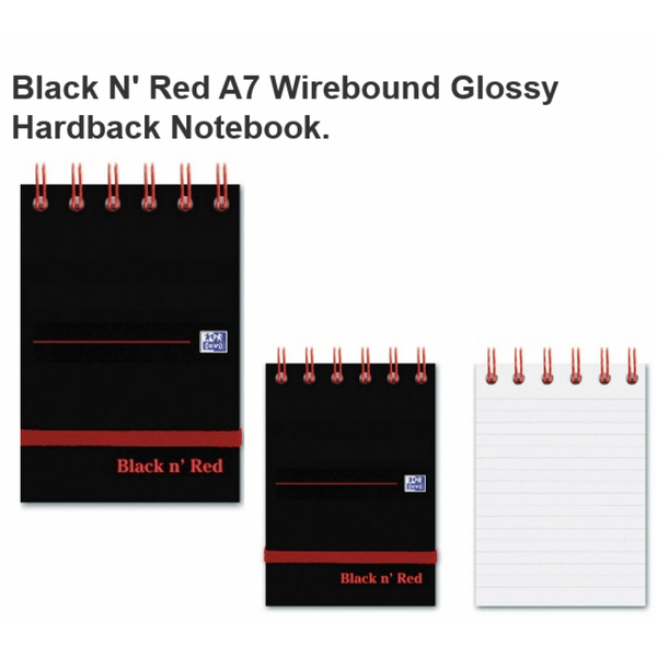 Black n Red (A7) Reporters Notebook with 140 Ruled Pages (Pack of 5 Notebooks)