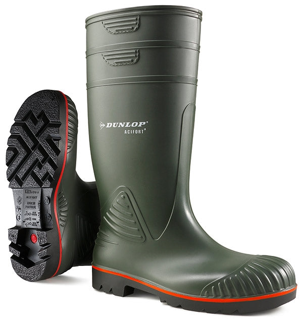 Dunlop Acifort FS Heavy Duty, Red Stripe Green Boots {All Sizes}