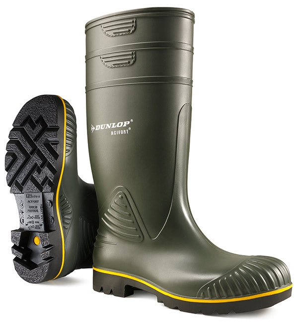 Dunlop Acifort NS Heavy Duty, Yellow Stripe Green Boots {All Sizes}