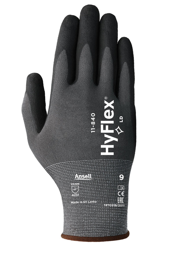 Ansell Hyflex {11-840's} Black Large Gloves {All Sizes}