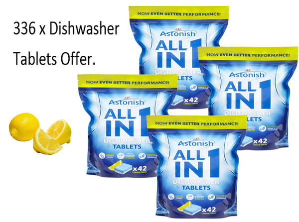 Astonish All In 1 Dishwasher Tablets Lemon {336 Tablet BULK OFFER}